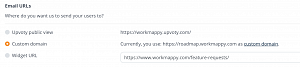 Customize email URL